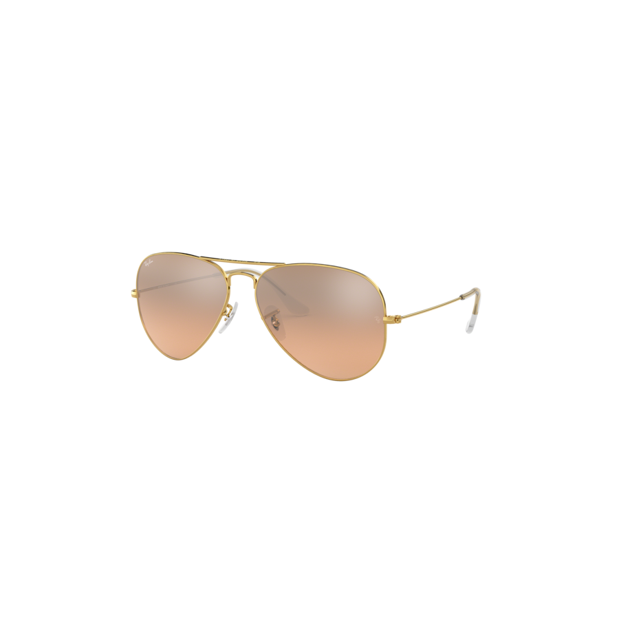 RB3025 AVIATOR LARGE METAL 001/3E GOLD CRYS.BROWN-PINK SILVER MIRROR